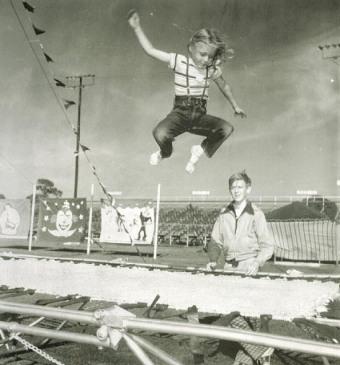 trampoline BW photo