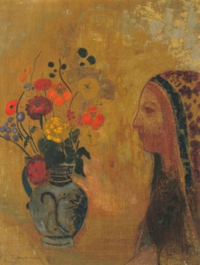 Profile of a Woman with a Vase of Flowers, by Odilon Redon (ca. 1895–1905)